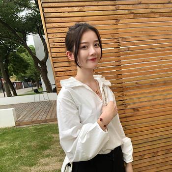 HiDou 百褶领衬衫·复古泡泡袖优雅韩版学生上衣
