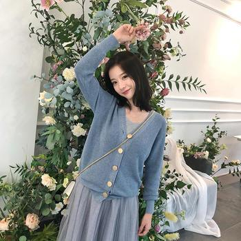 HiDou蓝色长袖针织衫