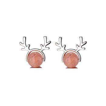 甜美草莓晶鹿角耳钉