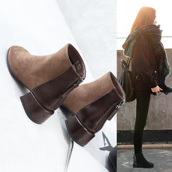 ZHR-气质方头粗跟绒布小短靴