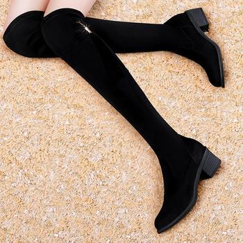 网红新款秋冬季百搭粗跟长筒靴