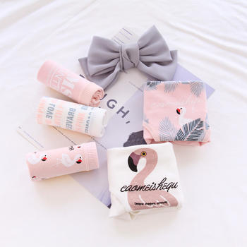GREAT 5条装 粉色火烈鸟女士棉内裤