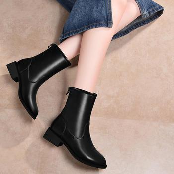 新款秋冬加绒平底?#25351;?#20013;筒靴