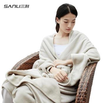 三利 春夏法兰绒毛毯单双?#19997;?#35843;毯办公室珊瑚绒盖毯