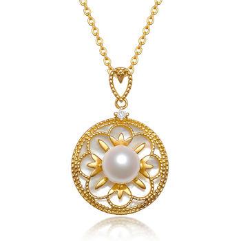 阿梵尼 18K金钻石珍珠罗盘吊坠
