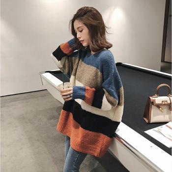 宠客韩版圆领撞色条纹长袖毛衣女