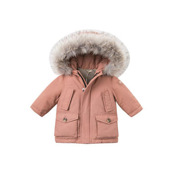 davebella男女童冬装连帽加厚羽绒服