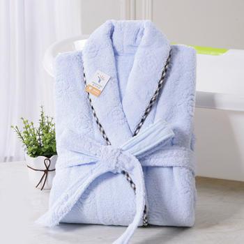 金号纯棉加厚男士蓝色浴袍浴衣