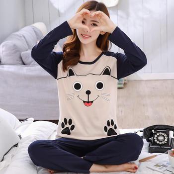 芳熹新款长袖笑脸猫睡衣女套装