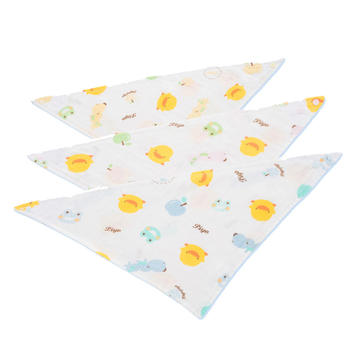黄色小鸭印图纱布三角巾3色可选