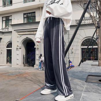 伊露伊香条纹高腰直筒裤运动裤