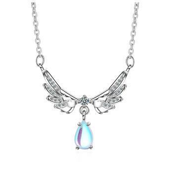 月光石甜美天使翅膀项链时尚气质百搭