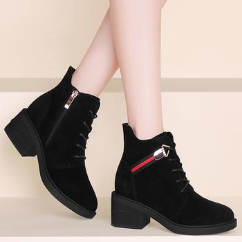 磨砂女?#25351;?#21152;绒显瘦马丁靴短靴
