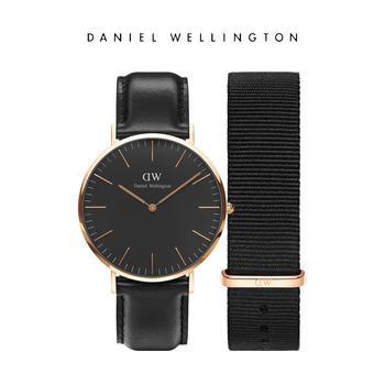 DW 经典男士40mm表盘皮质手表尼龙表带套装