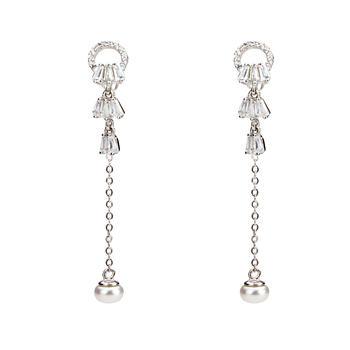 925银扇形珍珠耳钉 一款两戴耳坠