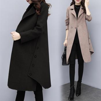 宽松中长款毛呢外套新款呢子大衣