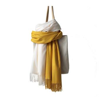 牙小白秋冬季歐美超大圍巾女保暖流蘇披肩純色