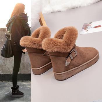 冬季短筒雪地靴女2018新款棉鞋子