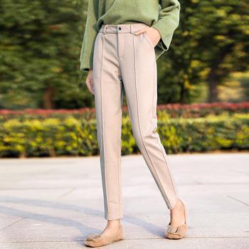 秋冬新款韩版高腰显瘦小脚直筒呢子裤西装休闲裤