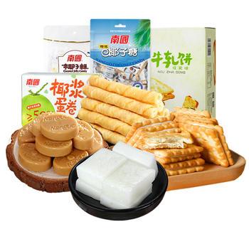 南国零食组合622g牛轧饼蛋卷椰糖