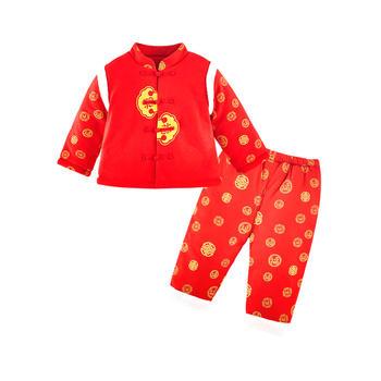 宝然宝宝唐装棉袄套装婴儿过年服