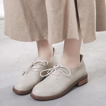 艾微妮新款交叉系带粗跟皮鞋单鞋