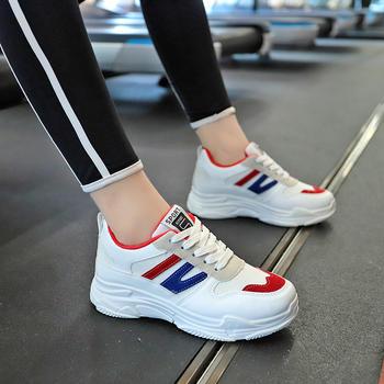 安欣娅交叉系带时尚拼色运动鞋