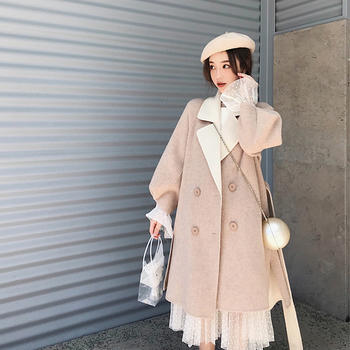雪梨钱夫人 灯笼袖双面呢大衣