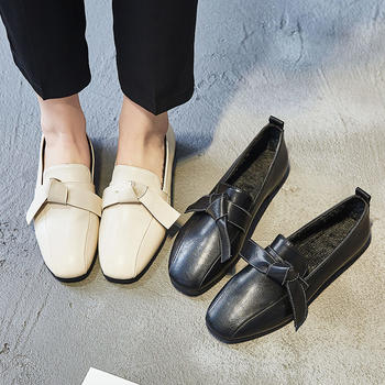 艾微妮新款蝴蝶结平底休闲单鞋