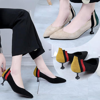 慕沫春秋新款单鞋女拼色尖头女鞋