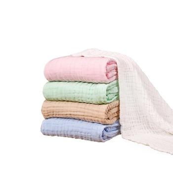 意嬰堡六層水洗紗布純色嬰兒浴巾