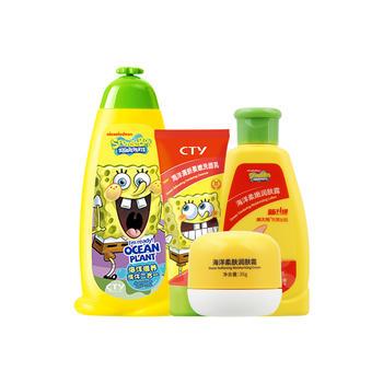 海绵宝宝 儿童洗护护肤组合4件套装