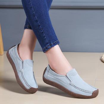 奥古女鞋夏季真皮平跟豆豆鞋短靴平底经典大码