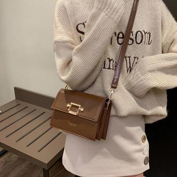 雅诗罗时尚简约女包单肩锁扣包包