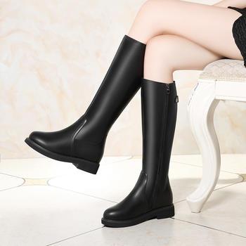高筒皮靴女低跟秋冬加绒骑士靴