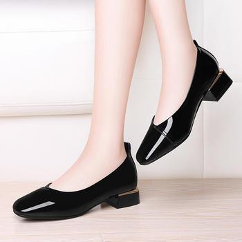 粗跟单鞋女鞋子中低跟百搭皮鞋