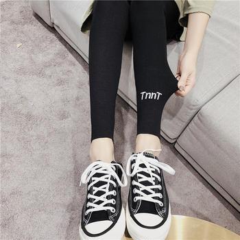 美丽后春季新款螺纹纯棉高腰保暖裤加厚弹力小脚裤