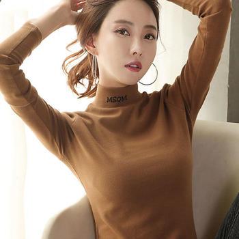 KDN纯色半高领刺绣新款长袖打底衫韩版修身显瘦t恤
