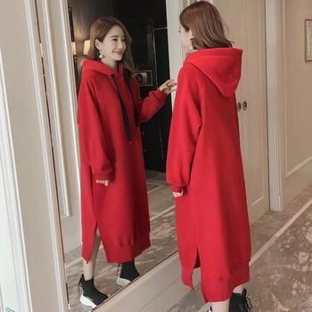 KDN加绒加厚宽松长款纯色连帽卫衣连衣裙韩版外套