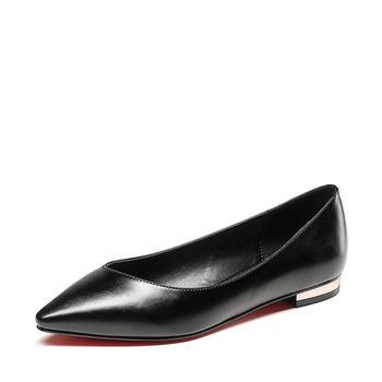 卓诗尼春季新款单鞋简约低跟尖头浅口工作鞋女鞋