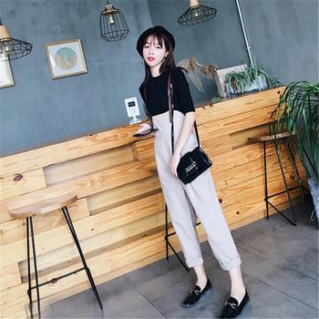 S SKY新款韩版时尚省心搭配女装时髦背带阔腿裤两件套
