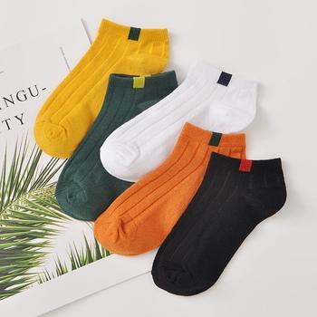 赛棉 5双装时尚布标日系短筒女袜舒适透气棉袜女船袜