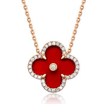 今上珠宝 18K金钻石四叶草项链三款款式选择