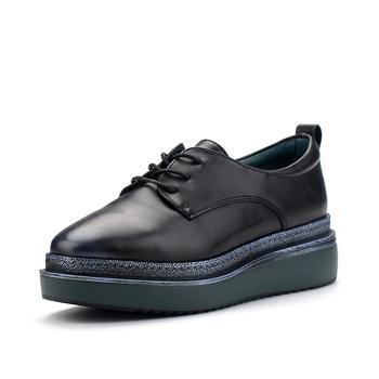 珂卡芙春秋季新款正品厚底坡跟系带女单鞋