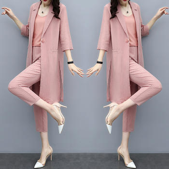 韩版时尚九分裤小脚裤西装套装女洋气两件套