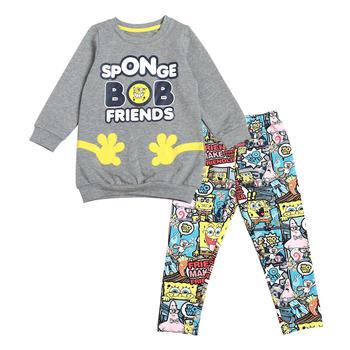 海绵宝宝童装女童套装 秋装 针织长袖卡通两件套