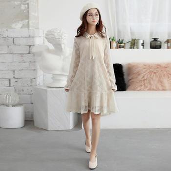L'BON早春新款蕾丝波纹韩版法国小众长袖系带连衣裙