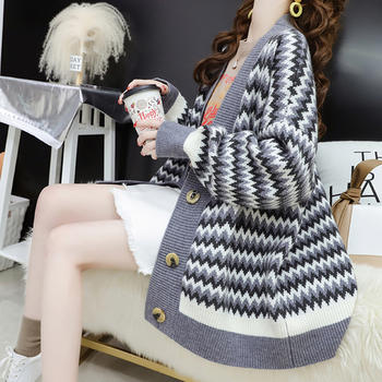 L'BON2019春季新款很仙的毛衣宽松韩版V领波纹针织衫