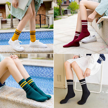 赛棉 5双装两杠韩版中长筒堆堆袜 春夏秋女袜棉质靴袜