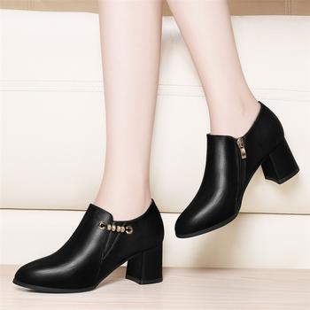 高跟鞋新款春季韩版圆头粗跟短靴